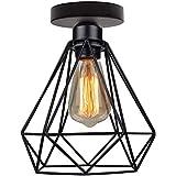 Topdécoré Plafoniera Lampadario,Retro Lampada Industriale lampadario in metallo nero gabbia ferro,Lampada a Sospensione per c