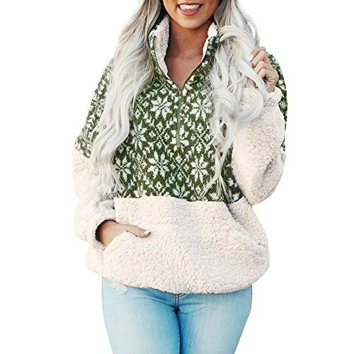 (TEBAISE Christmas Plüschjacke Pullover Bluse Tops Damen Weihnachten Blumen Drucken Langarm Sweatshirt Cute Hemd Mantel Weihnachtspullover Rentier Fashion Pulli warme Elegante T-Shirt)