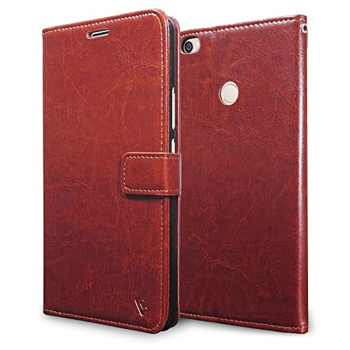 Ceego Luxuria Wallet Flip Cover for Xiaomi Mi Max - [Ultra Compact with Credit Card Slots & Wallet] - Classic Business Style Mi Max Flip Case (Walnut Brown)