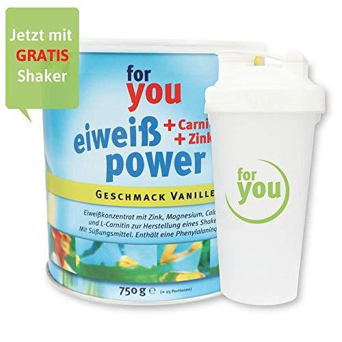 for you Power Eiweiß nach Strunz Vanille 750 g I Fitness Eiweisspulver mit Carnitin Whey-Protein Sojaprotein Milchprotein I Mehrkomponenten Protein Eiweißpulver mit Eiweiss Shaker Becher 700 ml