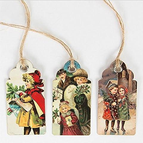 Retro Vintage Christmas Scene Gift Tags x