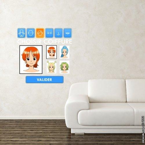 Okiwoki–Wandtattoo 55cm Manga–Parodie auf One Piece–-Generator Figuren:)–Sticker Deko Weiß Groß