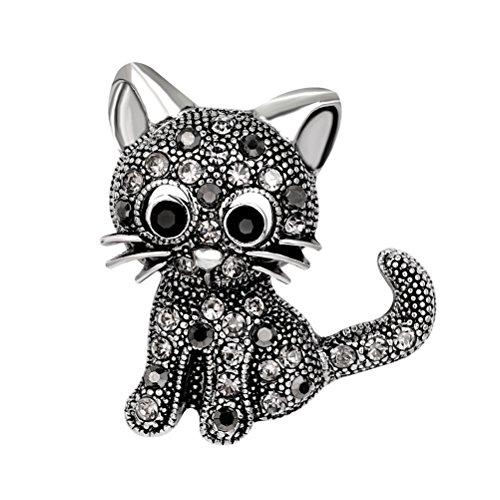 BESTOYARD Kristall Pin Brosche süße Katze anstecknadel mit Strass Damen Mädchen Valentinstag Geschenk Kleid Schal Zubehör (schwarz)