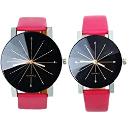 OverDose 1Pair Men and Women Convex Quartz Dial Clock Leather Wrist Watch