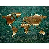 Fototapeten Weltkarte 352 x 250 cm Vlies Wand Tapete Wohnzimmer Schlafzimmer Büro Flur Dekoration Wandbilder XXL Moderne Wanddeko - 100% MADE IN GERMANY - Grün Gold - Runa Tapeten 9031011b