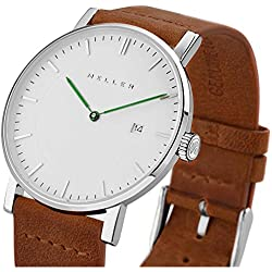 Meller Unisex Dag Camel Minimalist Watch with White Analogue Display and Leather Strap