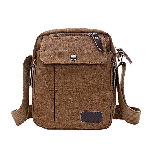 Canvas Umhängetasche Herren OMOUP Unisex Vintage Canvas Schultertasche Messenger Bag für Männer und Frauen (Braun) (Messenger Bag Eco-friendly)