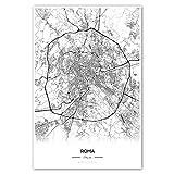 Zulumaps Poster 20x30cm Stadtplan Rom - hochwertiger
