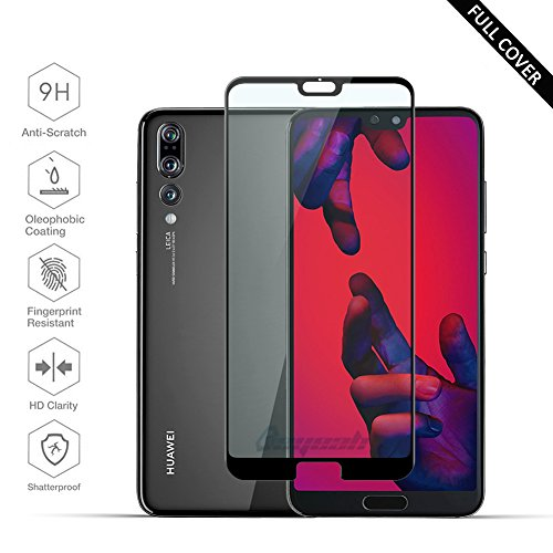[2 Stück] Beyeah Panzerglas Displayschutzfolie für Huawei P20 Pro, Perfekt verbesserte Version, Full Glue Coverage, 9H Härte, lebenslange Garantie (Schwarz)