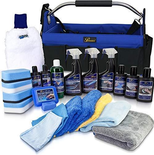 Petzoldts XXL Profi-Fahrzeugpflege-Set in Autoflegetasche, mit Reinigungsknete Politur Shampoo Detailer Glasreiniger Gummipflege Waschhandschuh Microfasertücher