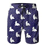 Troncos de baño para hombreCute Lama and Stars Doodle Collection Mens Print Beach Shorts Quick Dry Summer Casual Athletic Board Shorts Surfing Shorts with Lining