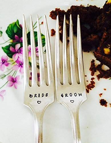 Personalised Silver Plated Wedding Cake Fork Set for the Bride and Groom, Custom Vintage Cutlery, Antique Bespoke Silver Tableware
