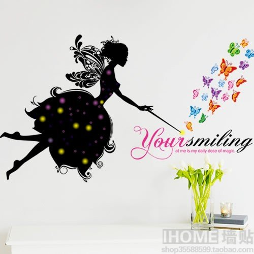 Hongrun Abnehmbare Wand Aufkleber Schmetterling Blossom Fairy Cartoon Wohnzimmer Schlafzimmer Fernseher Sofa Wand Dekor Kunst Person 64 * 109 cm Ming Blossom
