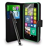 Nokia Lumia 630 - Leder Tasche Flip Case Cover Tasche + Touch Stylus Pen + Screen Protector & Polieren Tuch ( schwarz )