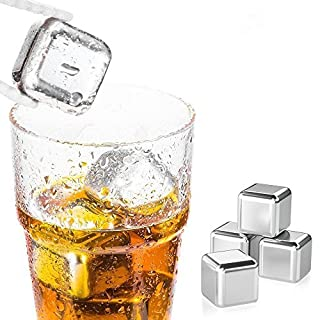 Amazefan Food Grade Stainless Steel Wine Chilling Cubes, Multi Color Stainless Steel Reusable Wine Ice Cubes, Chilling Rocks, Wiskey Stones Pack of 8 (Golden+ Silver(with poker suits)8)