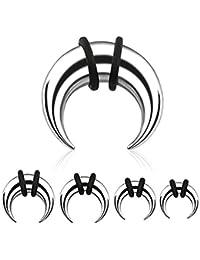 PunkJewelry piercing écarteur d'oreille forme buffalo en acier chirurgical 316L - 9 pièces