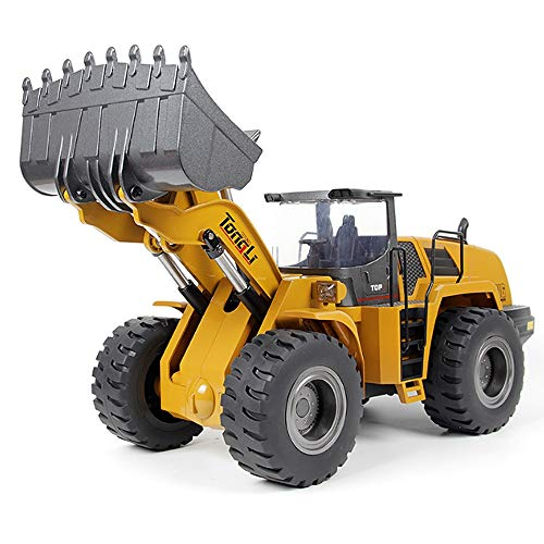 QHWJ Ferngesteuertes Spielzeug für Autos, 10-Kanal-All-Legierung, Ferngesteuerter Gabelstapler, Allrad-Lastlokomotive, dynamischer Aluminium-Rumpf