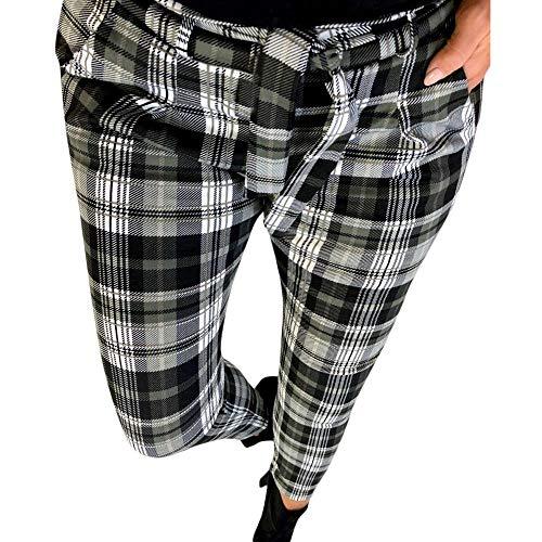 beautyjourney Pantalones de lápiz delgados con patrón de verificación, Pantalones casuales de...