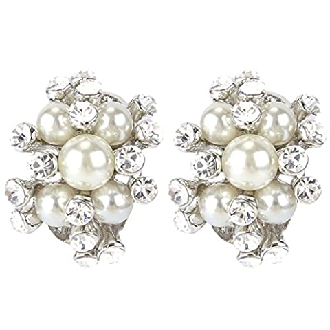 Ever Faith Silver-Tone Austrian Crystal Cream Simulated Pearl Bridal Cluster Pierced Stud Earrings Clear
