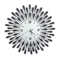Black Diamond Clock,Large Iron Luxury Diamond Dial 3D Crystal Wall Clock Decorative for Living Room