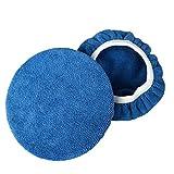 AchidistviQ 2pcs Pro Doux en Microfibre polisseuse Pad Coque pour Peinture de Voiture Care épilation à la Cire de Polissage, Microfibre, Bleu, 7-8 inch