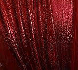 A.Monamour 3mm Paillettes Photographie Toile De Fond Tissu Brillant Scintillant Pour Le Mariage Rideau Nappe De Table Photo Arrière-Plans De La Toile Paillettes Rouge 4X4Ft