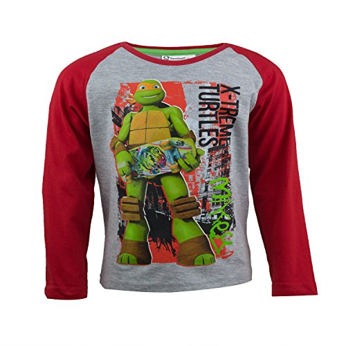 Teenage Mutant Ninja Turtles Kinder Langarmshirt aus 100% Jersey Baumwolle, Nickelodeon TMNT Langarm T-Shirt für Jungen - Shirt Farbe: Grau, Gr. 98