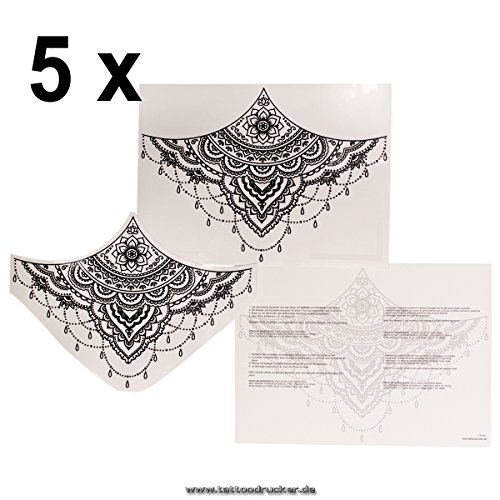 5 x Sternum Underboob Tattoo in schwarz - Sexy Unter Brust Tattoo Under Breast - No China! (5) -