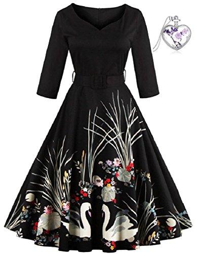 Lacus-DE Frauen Vintage Herbst/Winter Mode Gedruckt 2/3-Ärmel Kleid mit V-Ausschnitt (S, Schwarz)