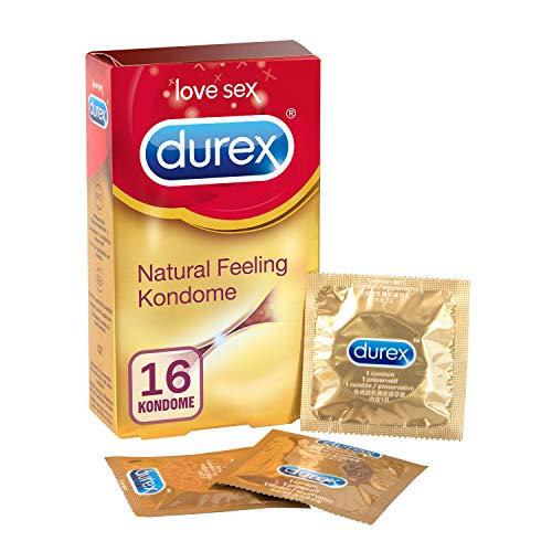 Durex Natural Feeling Kondome - Latexfreie Kondome für ein natürliches Haut an Haut Gefühl - 16er Pack (1 x 16 Stück)