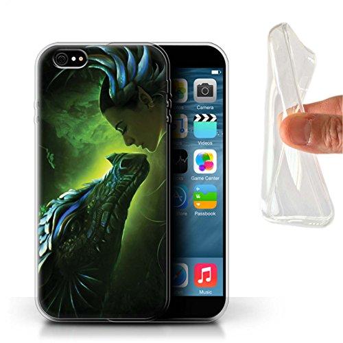 Officiel Elena Dudina Coque / Etui Gel TPU pour Apple iPhone 6+/Plus 5.5 / Pack 5pcs Design / Dragon Reptile Collection Écailles Vertes