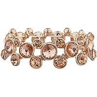Lux accessori cristallo tono oro rosa pietra Studded Circle braccialetto elastico - Tono Oro Charm Bracelet Bracciale