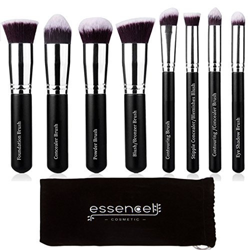 E17 Art (Essencell Make-up-Pinsel Synthetisches Premium Kabuki Cosmetic-Make-up-Pinsel-Set - (8stk, schwarz silber))
