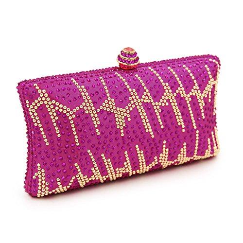 Flada Frauen und Damen Handtasche Abend Clutch Bag Strass Schultertaschen für prom Hochzeit Party Rosy Rosy