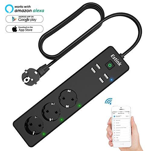 Multiprise Electrique Wifi, Multiprise Intelligente 3 Prises EU et 4 Ports de USB Fonctionne avec Amazon Alexa Google Home, Compatible Avec Smartphone iOS Android