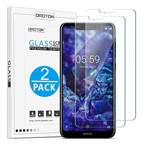 OMOTON [2 Pezzi Compatibile con Nokia 5.1 Plus Pellicola Protettiva in Vetro Temperato - Durezza 9H - Anti-Graffi - Senza Bolle - 99% di Trasparenza e Sensibilità