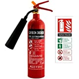 2kg CO2 Fire Extinguisher with ID Sign - A2Z Fire With 5 Year Warranty & BS EN3 Approved