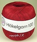 Häkelgarn 100 Gramm Baumwolle-Filet-Garn häkeln - Farbe weinrot_125