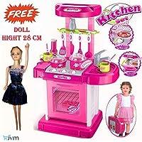 JVM Luxury Battery Operated Portable Kitchen Set for Girls, Pink (Kitchen Set)