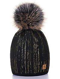 Damen Wurm Winter Style Beanie Strickmütze Mütze mit Fellbommel Bommelmütze Hat Ski Snowboard Pelz Bommel Pompon Kreis Regen Crystals 4sold