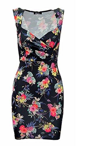 Frauen Damen Wrap über Mehrfarbig Strukturierte ärmellose Floral Kleid 8–14 - Multicoloured Floral Print Dress