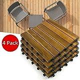 KYNA 4 Packs Terrassenfliese Holz Nachhaltige Akazienholzfliese, Größe 30 x 30 x 2,4 cm pro Fliese Klick-Fliesen für Garten Terrasse Balkon