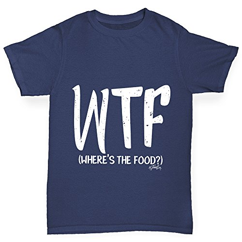 TWISTED ENVY WTF Where's The Food Boy's Funny Cotton T-Shirt, Comfortable and Soft Classic Tee with Unique Design