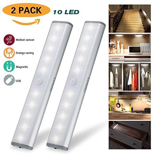 LED Schrankbeleuchtung, Nachtlicht mit Bewegungsmelder, 10 LED Batteriebetrieben Kabinett Nachtlicht, Auto On/Off PIR Motion Sensing Licht für Schlafzimmer, Küche, Gang, Schubfach, (Küche Lichter)