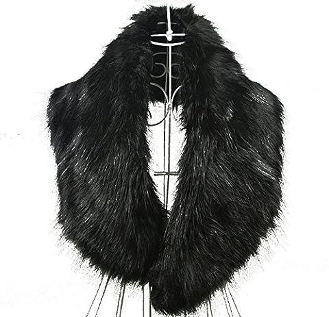 New trendy Écharpe en fausse fourrure pour boléro col châle Noir