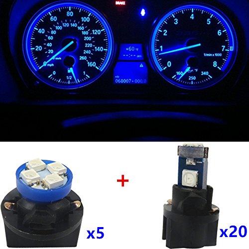 WLJH 25 pcs Bleu ampoules LED T5 Tableau de bord LED T10 Cluster Compteur de vitesse Indicateur lampe d'éclairage pour 1990-2001 S10