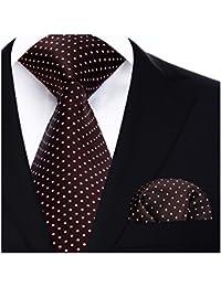 Hisdern Dot Floral Wedding Tie Panuelo para hombres Corbata y bolsillo cuadrado