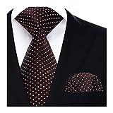 HISDERN Dot Floral Wedding Tie Panuelo para hombres Corbata y bolsillo cuadrado marron