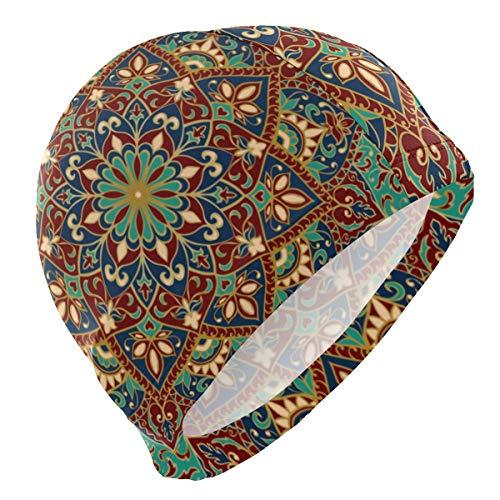 Gebrb Gorro de Baño/Gorro de Natacion, Swim Cap Turquoise Mandala Flower Swimming Hat Cover Ears No-Slip Bathing Cap for Men