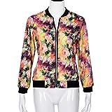Amphia - Damen Floral-Blumen-Druck,Reißverschluss Blumen Gedruckt Bomber Jacke Piloten Baseball Mantel Outwear Tops Coat (Mehrfarbig, XXL)